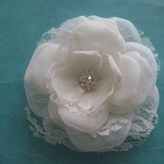 Bridal Hair Flower  Ivory Lace Organza and Tulle by HARTfeltart, $32.00