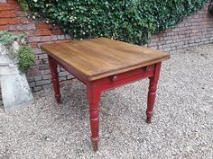 Edwardian Farmhouse Kitchen Table with a hand waxed top and the original cherry red painted legs and drawer Country Furniture, Table, Farmhouse Kitchen Tables, Farmhouse Kitchen, Kitchen Paint, Pine Furniture, Kitchen Table, Painted Kitchen Tables, Painted Table