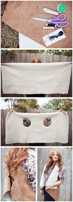 Vergiss die teure Damenkleider Abteilungen und erneue deine Kleider selbst - DIY Poncho
