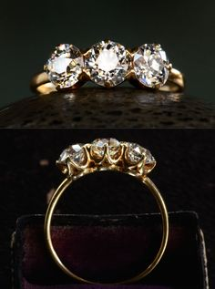 I LOVE THE 3 STONE...1900s Edwardian Three Diamond Ring, 0.66ct, 0.60ct, 0.58ct European Cut Diamonds (G-H/I SI1-2), 18K Yellow Gold, $7595