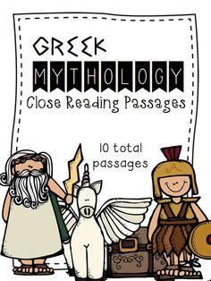 Greek Mythology God & Goddesses Close Reading Passages - 10 total! {Includes a reading passage & three worksheets for each god or goddess}