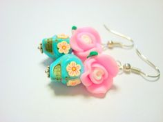 Turquoise and Pretty Pink Flower Cherry Blossom Eyes Sugar Skull Earrings by PennysLane, $8.50