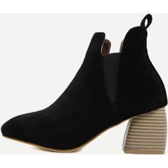 Black Faux Suede Elastic Cork Heel Ankle Boots (195 ILS) ❤ liked on Polyvore featuring shoes, boots, ankle booties, faux suede booties, black bootie, elastic ankle boots, black ankle boots and faux suede boots