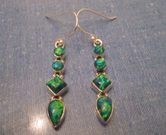 EARRINGS -  Quad - Blue - Green - FIRE OPAL - 925 -Fish Hook - Dangle - Sterling Silver earrings 370 by MOONCHILD111 on Etsy