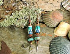 Kingman Turquoise and Hand Painted Beads Anunnaki by Mojowoman, $57.00
