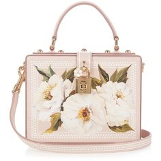 Dolce & Gabbana Dolce Box peony-print leather bag ($2,775) ❤ liked on Polyvore featuring bags, handbags, shoulder bags, bolsas, dolce & gabbana, purses, white leather handbags, white leather purse, genuine leather handbags and purse shoulder bag