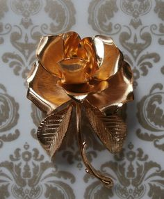 Vintage Cerrito Gold Rose Brooch Pin ~ #Vintage #Jewelry #VintageJewelry #GoldRose #Rose #Fashion #Style #Beauty #LOVE #Etsy #Design by StarliteVintageGems