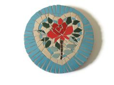 Red Rose Heart Wall Hanging Mosaic Art Home Decoration Ceramic Tiles Pink Turquoise via Etsy