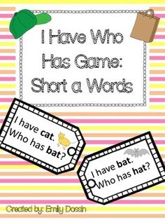 Short A I Have Who Has phonics game that helps students practice reading short a CVC words. This game is differentiated with picture clues for lower readers and ELLs.