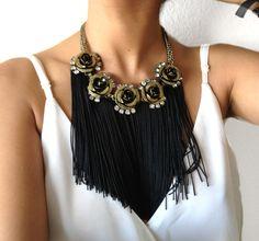 FLOWERS black fringe necklace by LOLAjewelryd on Etsy