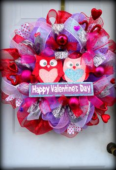 VERY LIMITED  Love Birds  Deco Mesh Valentines by SparkleWithStyle, $119.00