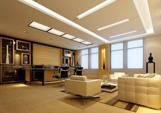 Thi công trần thạch cao tại văn phòng - Kết hợp trần nổi và trần chìm trong thiết kế trần