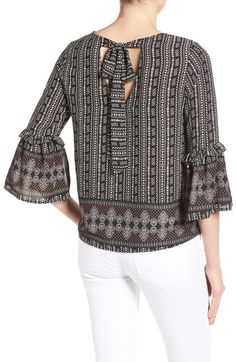 Main Image - Gibson Tie Back Bell Sleeve Top