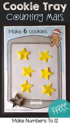 FREE Cookie Tray Counting Mats - these super cute Christmas printables are great to help toddler, preschool, and kindergarten age kids to practice counting during December with this fun learning activities for kids. Perfect for math centers, to make learning a game, number recognition, gingerbread man, and more!