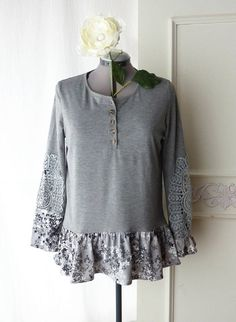 Upcycled henley tshirt w/ ruffle long sleeve gray floral