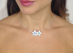 Silver flower necklace with Moonstone and Peruvian Amazonite Mary Colyer Jewellery marycolyer.com