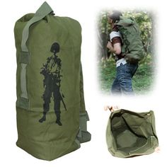 Tactical Super Large Dual-purpose Shoulders Bag Canvas Duffle Backpack for Outdoor / Travel / Camping