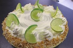 Florida Key Lime Pie! With authentic graham cracker crust and freshly whipped cream! This baked key lime custard is tart and sweet!