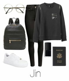 kpop fashion A fashion look from December 2015 by btsoutfits featuring RVCA, H&M, NIKE, Deux Lux, Royce Leather and NARS Cosmetics Kpop Fashion Outfits, Mode Outfits, Korean Outfits, Casual Outfits, Girl Outfits, Womens Fashion, Ladies Fashion, Trendy Fashion, Bts Mode