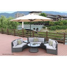 Half Moon 7-piece Curved Wicker Patio Furniture Set with 11.5-Foot Cantilever Umbrella Parasol by Direct Wicker