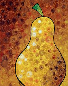 Golden Pear - Warm inviting delicious Golden Pear by Labor of Love artist Sharon Cummings. Canvas Print by Sharon Cummings Fine Art Amerika, Canvas Art, Canvas Prints, Canvas Ideas, Canvas Paintings, Orange Art, Yellow Art, Pyrus, Fruit Painting