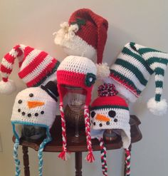 Crochet Christmas hats  hmmm maybe we will see 100 variations of these at Christmas