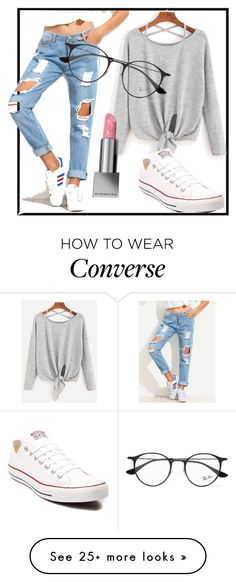 """"""""""" by mikahbae on Polyvore featuring Ray-Ban, Converse and Burberry"""