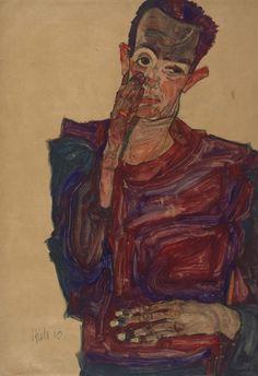 Egon Schiele, Self-portrait pulling down an eyelid, (1910) Courtesy Albertina, Vienna