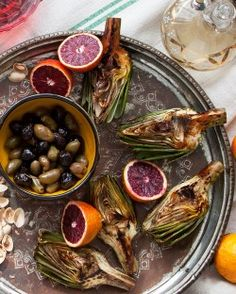 roasted artichokes with olives