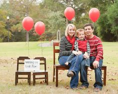 """I love this for the adoption announcement while we wait for a child. The sign says """"waiting for God's plan"""""""