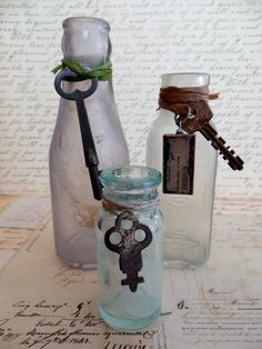 Three Antique Vintage Bottles With Skeleton Keys and by tuscanroad