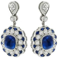 Estate Art Deco Style 5.12ct Sugar Loaf 2.49ct Faceted Sapphire  0.94ct Round Cut Diamond 18k White Gold Drop Earrings