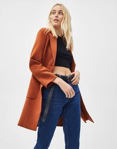 Discover this and many more items in Bershka with new products every week Fashion News, Latest Fashion, Straight Cut, Duster Coat, Bell Sleeve Top, Clothes, Israel, Women, Style