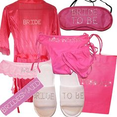 db1c3aed45398 Personalised Dressing Gown,Slippers,Suspenders,Gift Bag,EyeMask,SweatBand, bikini.Robe Wedding Lingerie Rhinestone swimsuit Garter Satin PINK