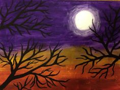 Fall moonlight painting by CrasianDesigns on Etsy