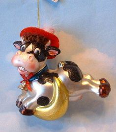 New Handpainted Glass Nursery Rhyme Cow Jumping Over Moon Christmas Ornament