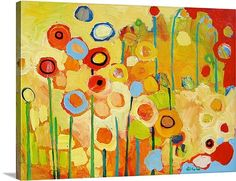 """Growing in Yellow - No. 2"" Contemporary Floral Wall Art by Jennifer Lommers via @greatbigcanvas"