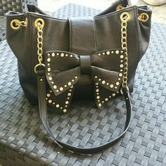 Black bow purse Faux leather, grear used condition, no missing studs, gold chain detail, clean inside Bags Hobos