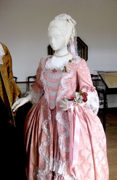 "Pastel colors were popular for 18th century brides. Although the Potts were of ""Quaker origins"", one daughter married in an Anglican ceremony."