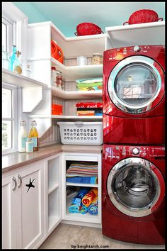 Laundry room storage stackable Small laundry room with stackable washer and dryer laundry room tradi Small Laundry Rooms, Laundry Room Organization, Laundry Room Design, Diy Organization, Small Shelves, Small Storage, Storage Ideas, Stackable Washer And Dryer, Red Washer And Dryer