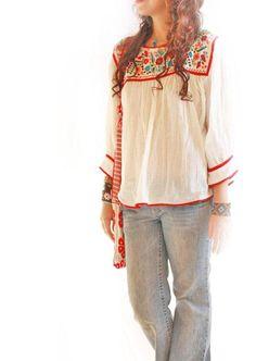 Dominga Mexican embroidered boho hippie chic blouse cotton gauze. $98.00, via Etsy.