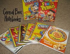 Cereal Box Notebooks- We could make these for them to sell at the Habitat for Humanity Restore.