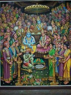 A beautiful painting of Rama Pattabhishekam