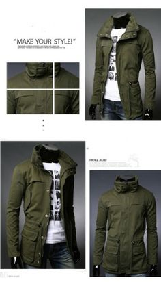 Mens Fashion Fit Slim Multi Pocket Trench Coat Suit Jacket Black/Army green/Red AMN025-in Jackets US$44.99