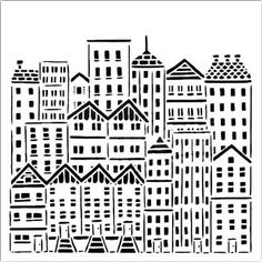 This urban cityscape stencil is ideal for adding detailed images and shapes to your glass art work. Great for glass powder printing techniques. Tree Stencil, Stencil Art, Stencils, Bullseye Glass, Custom Writing, City Buildings, Custom Labels, Sewing Stores, Surface Design