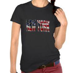 womens new york american usa flag text tshirt Summer Tshirts, Usa Flag, Shirt Designs, York, American, Mens Tops, T Shirt, Women, Style