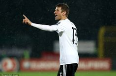 Thomas Muller of Bayern Munich waves a finger at the referee during the early stages of the second half in San Marino