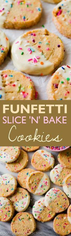 Funfetti Slice 'n' Bake Cookies - EASY make-ahead funfetti slice and bake cookies dunked in white chocolate!