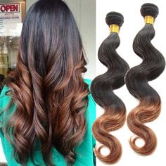 50g/pc 100% Real Human Hair Extensions 1b/30# Ombre High Quality Hair Weaving #WIGISS #HairExtension
