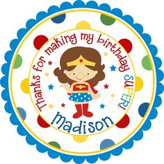 Superhero Wonder Girl design done on a wide polka dot border.   Personalized stickers by partyINK.